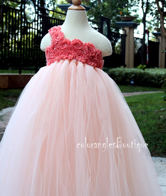 Flower Girl Dress Peach Coral Tutu Dress Baby Dress Toddler Birthday ...