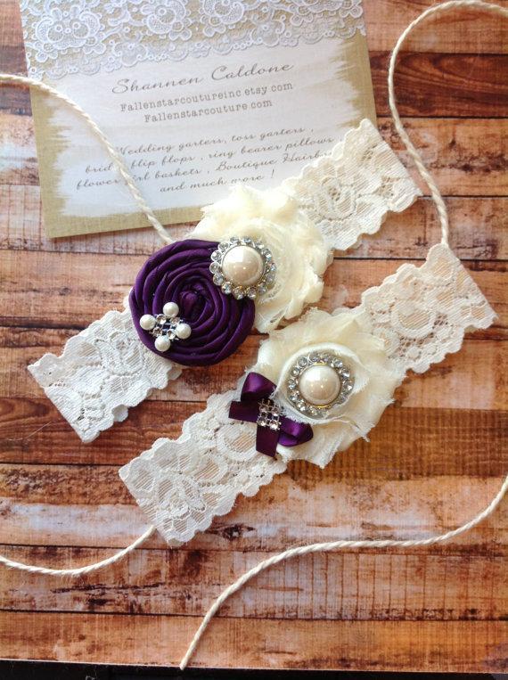 Mariage - Wedding garter SET / Plum / Design your own  / wedding garters/ bridal  garter/  lace garter / toss garter / vintage lace garter
