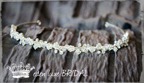 Wedding - Crystal Thin Bridal Headband, Swarovski Bridal Tiara, Thin Crystal Headband, Silver Wedding Headband