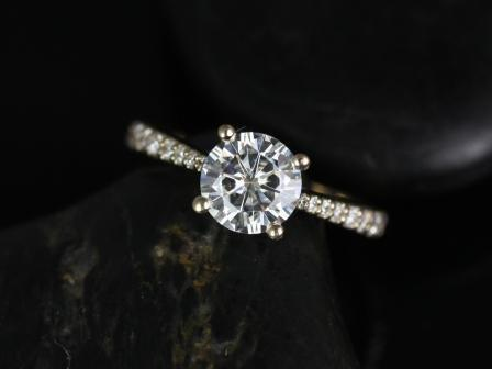 Wedding - Taylor 7mm 14kt  Yellow Gold Round FB Moissanite and Diamond Cathedral Engagement Ring (Other metals and stone options available)