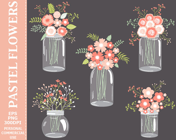 زفاف - BUY 2 GET 1 FREE! Digital Pastel Flowers in Mason Jars Clip Art - Jars, Pink, Wedding, Pastel, Flowers, Bouquets, Compositions Clip Art.