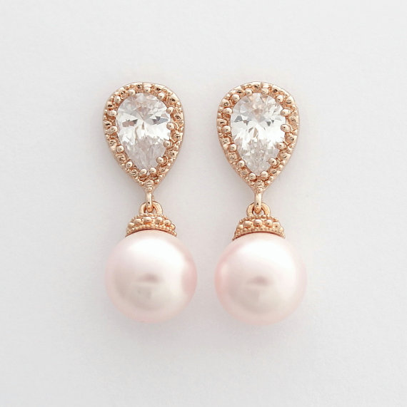 Rose Gold Wedding Earrings Pink Pearl Bridal Cubic Zirconia Posts With Swarovski Rosaline Pearls Jewelry