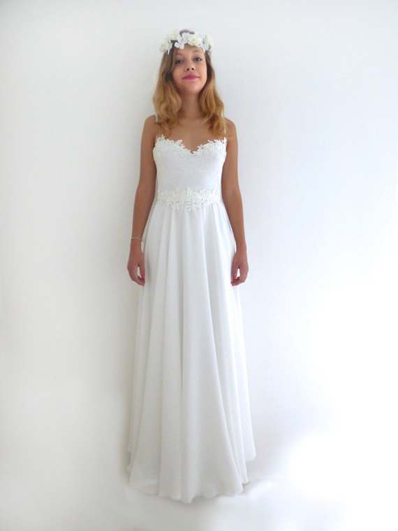 Romantic Vintage Inspired Wedding Dress Custom Made Chiffon Wedding ...