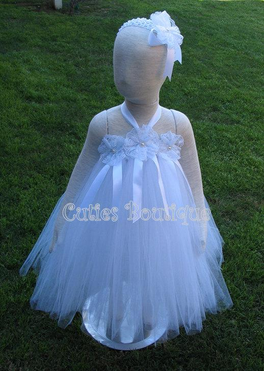 White tutu flower dress wedding birthday holiday picture for 12 month dresses for wedding