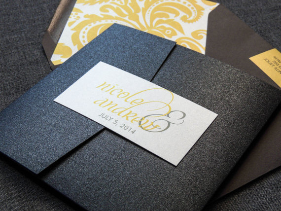Modern Wedding Invitations, Calligraphy Invitations, Luxury Wedding, Yellow  And Grey, Dramatic Script, Pocketfold   1 Layer, V2   SAMPLE