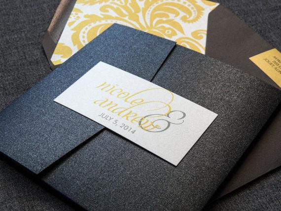 Yellow Grey Wedding Invitations: Modern Wedding Invitations, Calligraphy Invitations