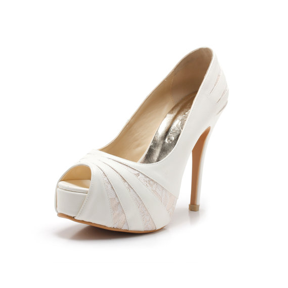 Hochzeit - Jenny, White Wedding Shoes with Lace Inner , White Bridal Heels, White Lace Wedding Shoes, White Satin Evening Heels