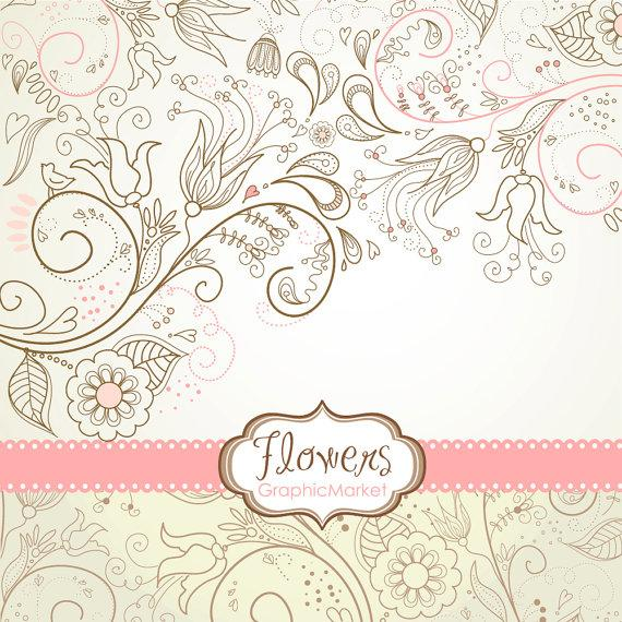8 Flower Designs Digital Paper And A Floral Border Clipart For