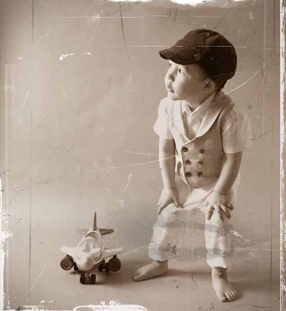 Mariage - Ring bearer outfit Wedding party outfit Toddler boy vest and pants Boys linen suit Double breasted vest Photo prop