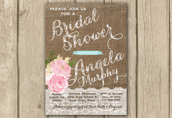 bridal shower invitation burlap lace invitation burlap shower invitewedding shower pink rustic floral shower invite digital invitation