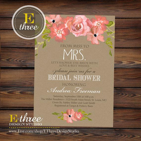 printable bridal shower invitation rustic watercolor flowers and kraft paper bridal shower invite wedding shower invitation