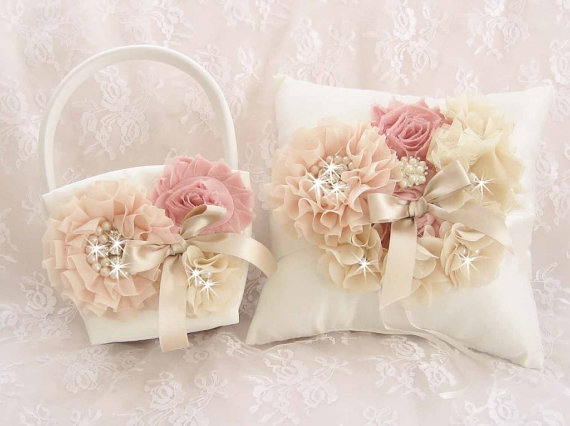 Wedding - Victorian Flower Girl Basket and Pillow, Ring Bearer Pillow, Flower Girl Basket Set Wedding Pillow Vintage