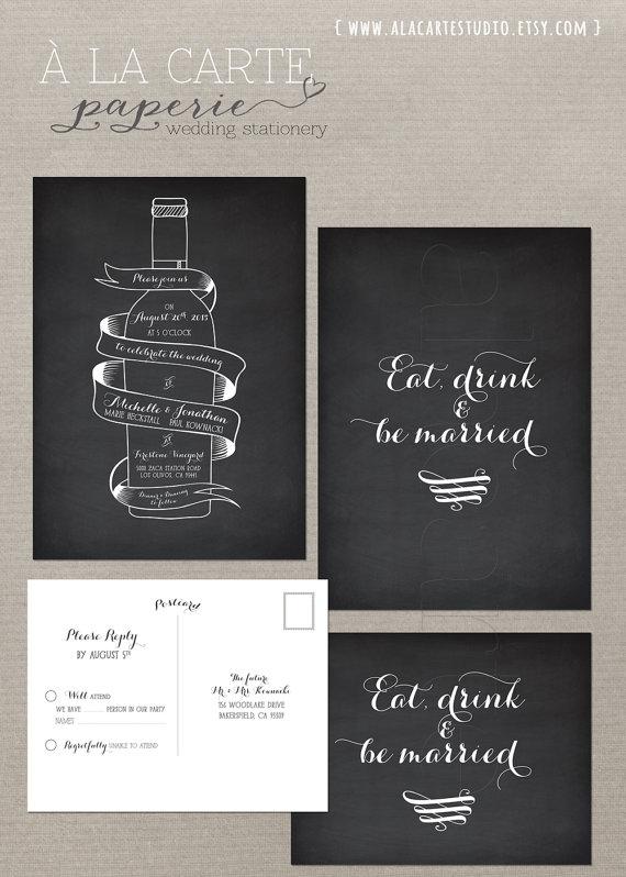 Wine bottle chalkboard inspired wedding invitation card and rsvp wine bottle chalkboard inspired wedding invitation card and rsvp suite vintage winery wedding stationary design fee stopboris Gallery