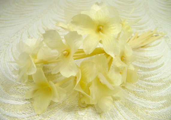 Sweet pale yellow blossoms bouquet silk organdy bunch of 12 flowers sweet pale yellow blossoms bouquet silk organdy bunch of 12 flowers for bouquets wedding hats fascinator corsage mightylinksfo Choice Image