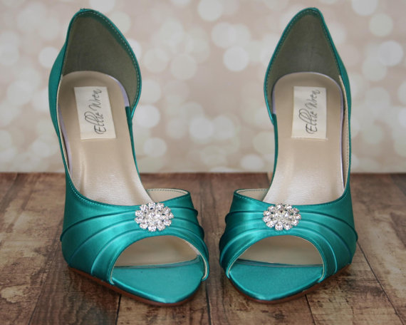 b46ee2e8ab07 Custom Wedding Shoes -- Jade Peep Toe Wedding Shoes with Simple Rhinestone  Adornment