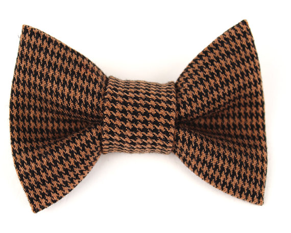 Mariage - Dog Collar Bow Tie Brown Houndstooth collar accessory
