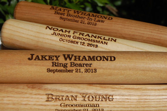 3 Personalized Groomsmen Gifts, Custom Engraved Wood Baseball Bat with Ring Bearers Name, Date and Special Message