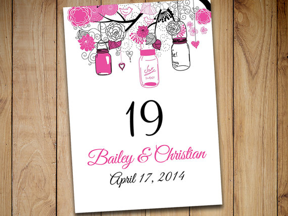Hochzeit - Mason Jar Wedding Table Number Template Download - Rustic Table Number Hot Pink Black Flat Table Card Download Wedding Seating