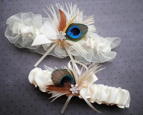 Mariage - Peacock Garter Bridal Set, Peacock feather, ivory garter set, brown - IVORY & PEACOCK Garter
