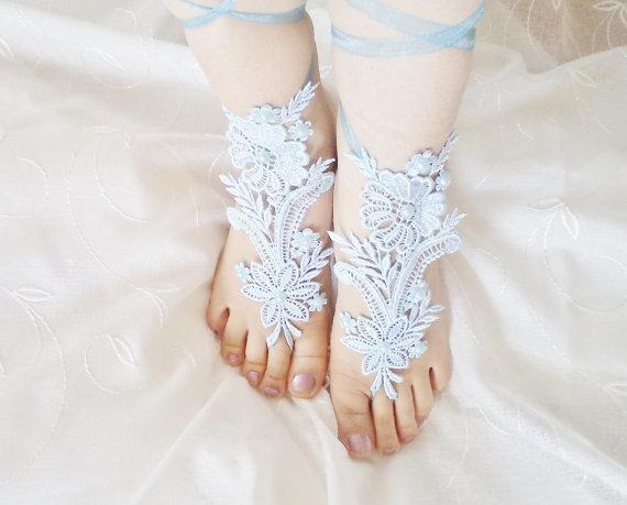 Handmade Lace Wedding Shoes Bridal Barefoot Sandles Beach Bridesmaids