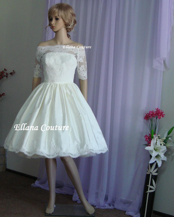 Hochzeit - Ready To Ship. Grace - Vintage Inspired Two Piece Tea Length Wedding Dress.