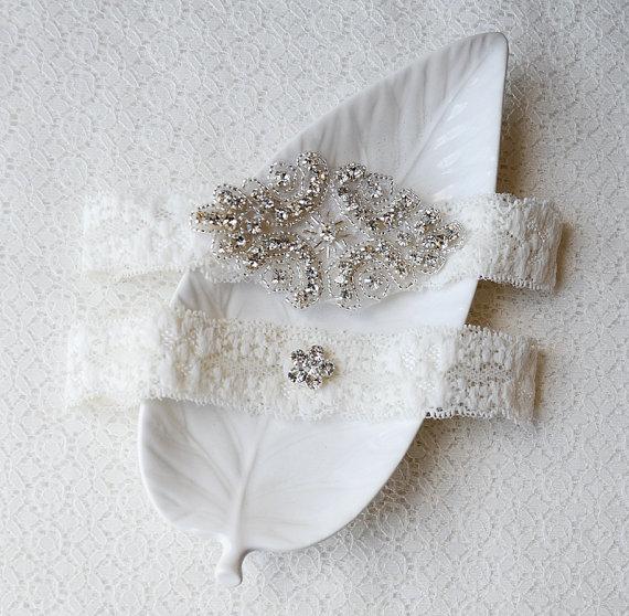 Wedding Garter Bridal Set Ivory Lace Belt Rhinestone Crystal Beach Gr088lx