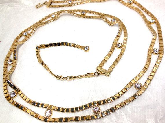 Mariage - Vintage Gold and SWAROVSKI Crystal Rhinstone Belt BRIDE Spring Prom Summer Evening Statement