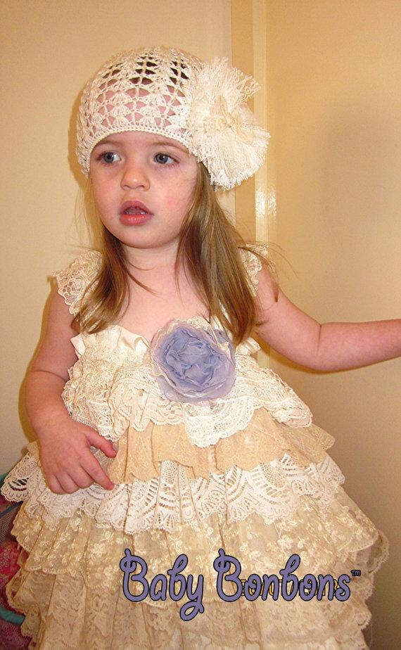 Hochzeit - Easter Vintage lace ruffled dress by Rosanna Hope for Babybonbons, pageant dress, flower girl dress