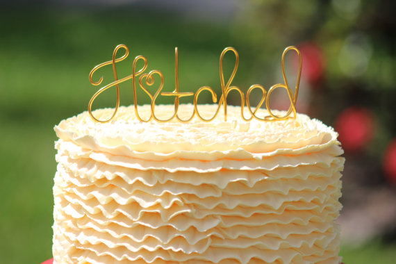Mariage - Gold Wire Hitched Wedding Cake Toppers - Decoration - Beach wedding - Bridal Shower - Bride and Groom - Rustic Country Chic Wedding