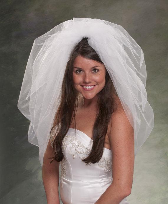 Mariage - Bubble Veils Waist Length Veils 32 Inch Bridal Veil Tulle Veils Poufy Veils Ivory Veils Diamond White Veils Wedding Veils