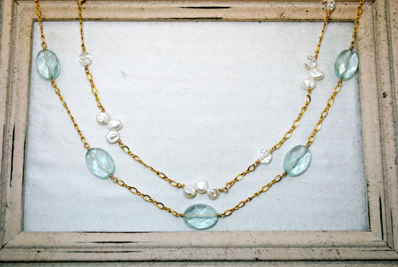 Wedding - White Keishi Pearl Necklace, Aqua Quartz Necklace, Double Strand, Gold Chain, Something Blue, Bridal Jewelry, Wedding Jewelry, Wire Wrapped