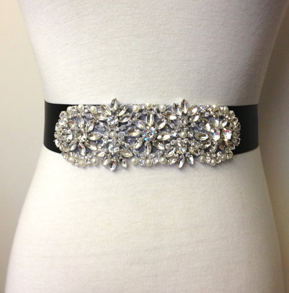 Evening Sash-Black Sash-Bridal Sash-Rhinestone Sash-Wedding Dress ...