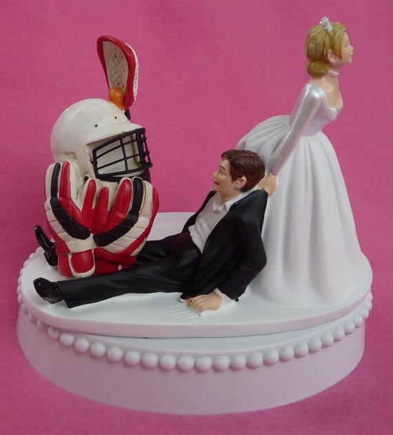 زفاف - Wedding Cake Topper Lacrosse Player Helmet Gloves Stick Sports Groom Themed w/ Bridal Garter Bride Athlete Athletic Hobby Sporty Funny Top