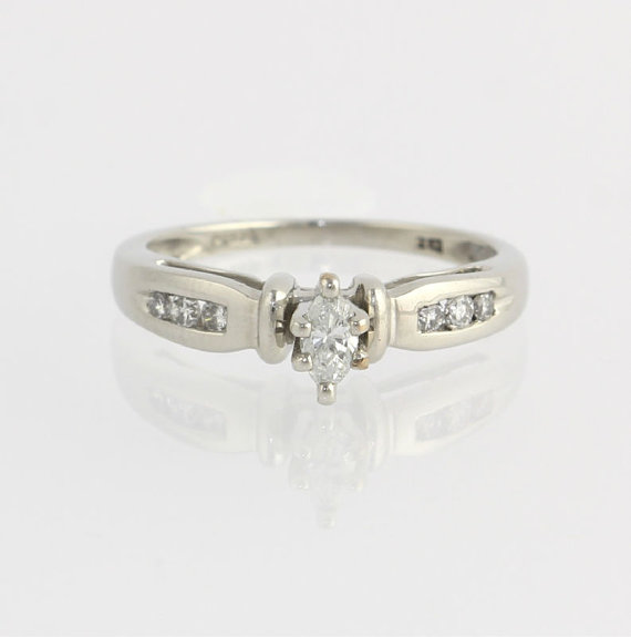 Свадьба - Diamond Engagement Ring .25ctw - 950 Platinum Genuine Marquise Round Polished X5458