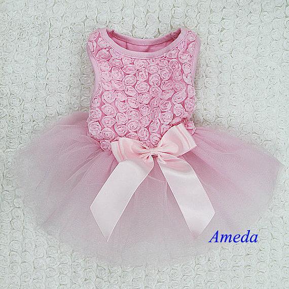Свадьба - Light Pink Rosettes Elegant Rose Wedding Tutu Small Dog Clothes Party Dress XS-L [PETDJ06]