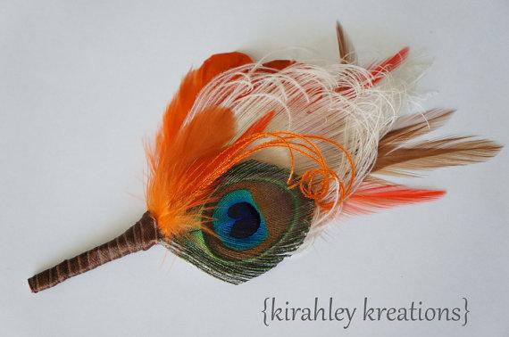 Mariage - JASPER Custom -- Natural Vibrant Green and Ivory Peacock with Orange Feathers, Grooms & Groomsmen Fall Autumn Wedding Keepsake Boutonniere