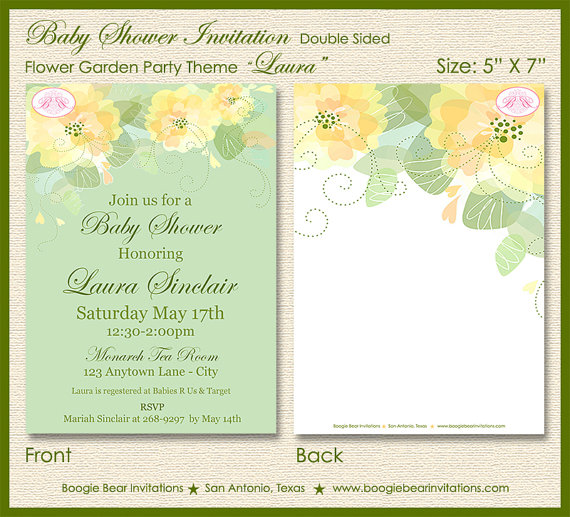 Flower Garden Baby Shower Invitation Party Spring Summer Floral – Garden Party Baby Shower Invitations