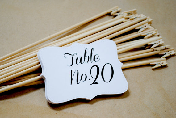 Wedding - Shabby Chic Rustic Table Number Holders Wedding Clips Fall TABLE NUMBERS and HOLDERS set of 20