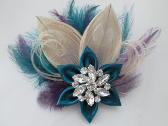 Mariage - Teal & Purple PEACOCK Hair Fascinator, Teal Wedding Hair Piece, Champagne Peacock Feather Head Piece, Bridal Birdcage Veil, Hair Accessory