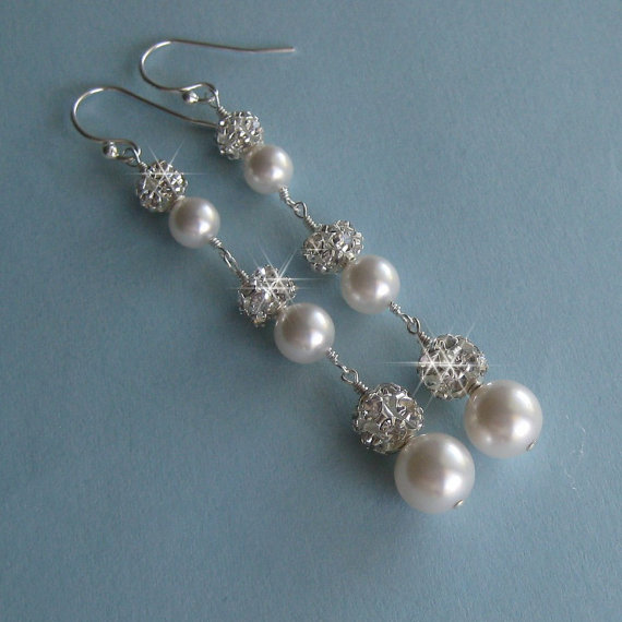 Extra Long Pearl And Crystal Earrings Bridal Fireball Wedding Jewelry By Janicemarie