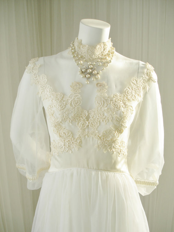 Vintage ilgwu 1960 1970 illusion bodice bridal wedding for Satin and lace wedding dresses