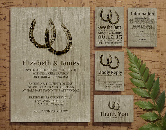 Vintage Horseshoes Wedding Invitation Set Suite Invites Save The Date RSVP Thank You Cards