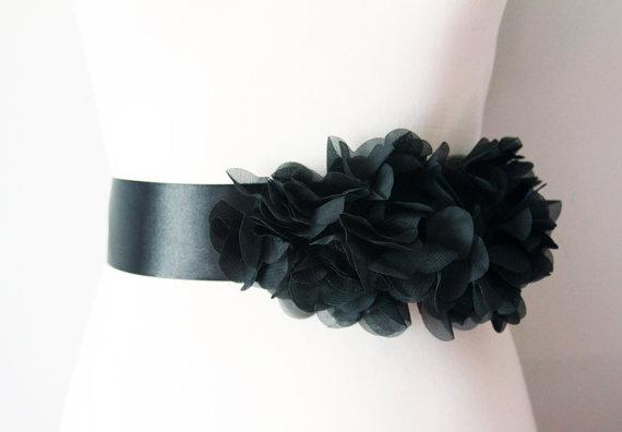 Wedding bridal black chiffon flower sash posh ribbon belt vintage