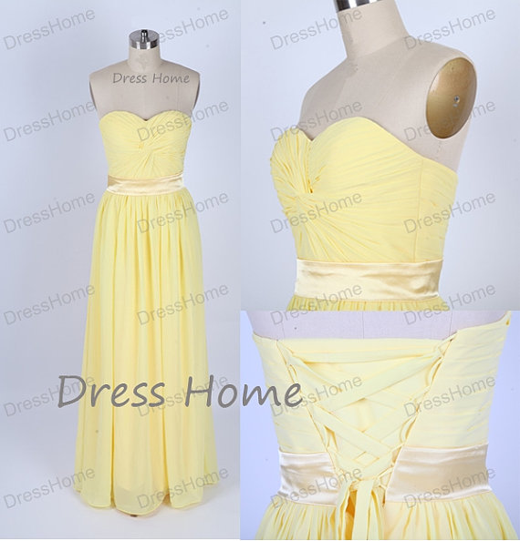 Mariage - Sweetheart Yellow Bridesmaid Dresses/Long Prom Dress/Corset Prom Dress/Cheap Homecoming Dress/Party Dresses DH138