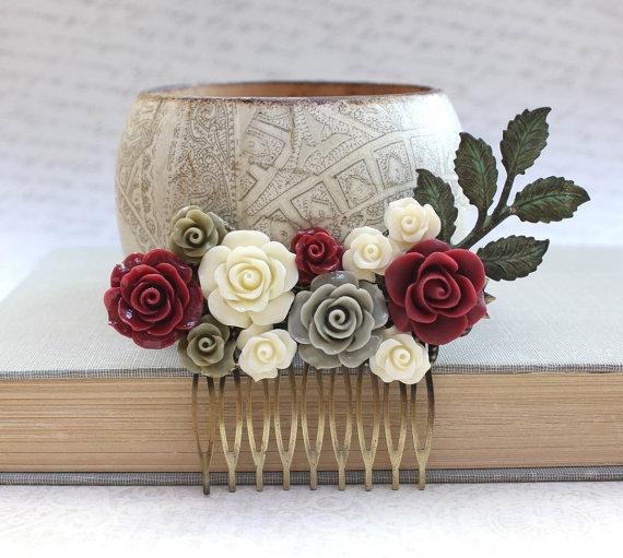 Mariage - Romantic Bridal Hair Comb Deep Red Rose Comb Wedding Hair Accessories Bridemaids Gift Winter Wedding Rustic Verdigris Branch Comb Cream Rose