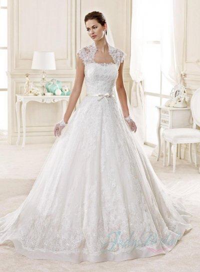 JW15131 Chic Lace Bolero Strapless Princess Ball Gown Spring Wedding Dress