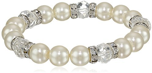 """Mariage - 1928 Jewelry """"Bridal Crystal"""" Silver-Tone Simulated Pearl and Crystal Stretch Bracelet, 7"""""""