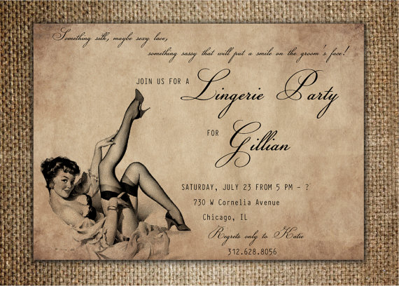 Mariage - Bachelorette Party/Hen's Night Invitation : Lingerie Party with Pin Up Girl