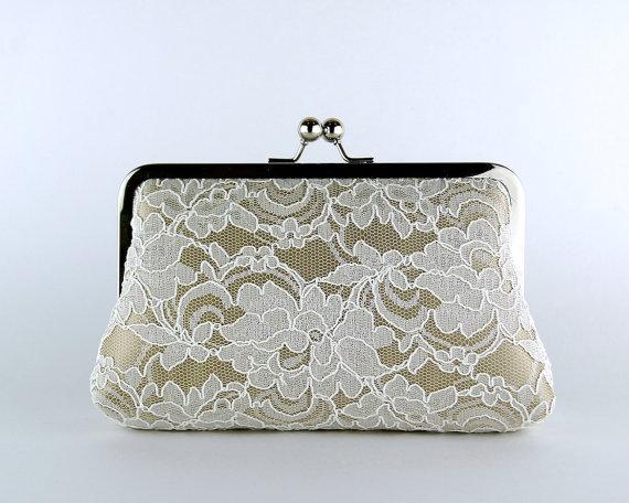 Hochzeit - Bridesmaid Clutch, Lace Silk Clutch in Ivory and Beige, wedding clutch, wedding bag, Bridal clutch