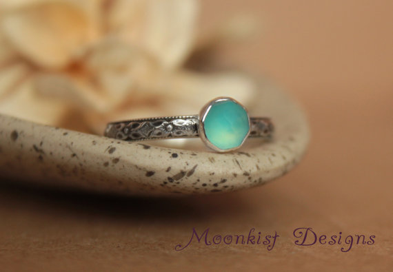 Mariage - Ocean Blue Chalcedony Bezel-Set Solitaire with Geometric Sterling Band, Renaissance Diamond Promise Ring or Engagement Ring, Choice of Stone